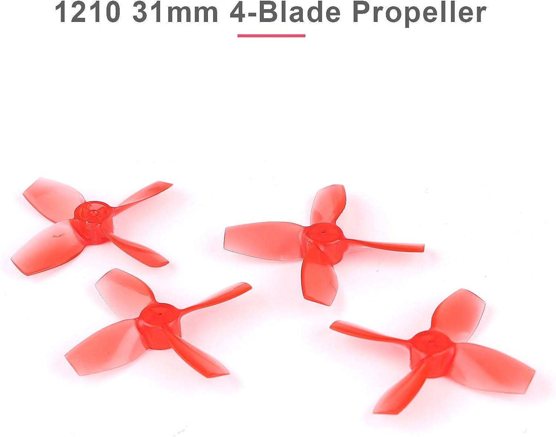 16PCS Emax Avia Nanohawk Prop 1210 4 Blade Propeller 31mm Four Blade Props for Emax Nanohawk BNF 65mm RC FPV Racing Drone MultiRotor Replacement Transparent Red