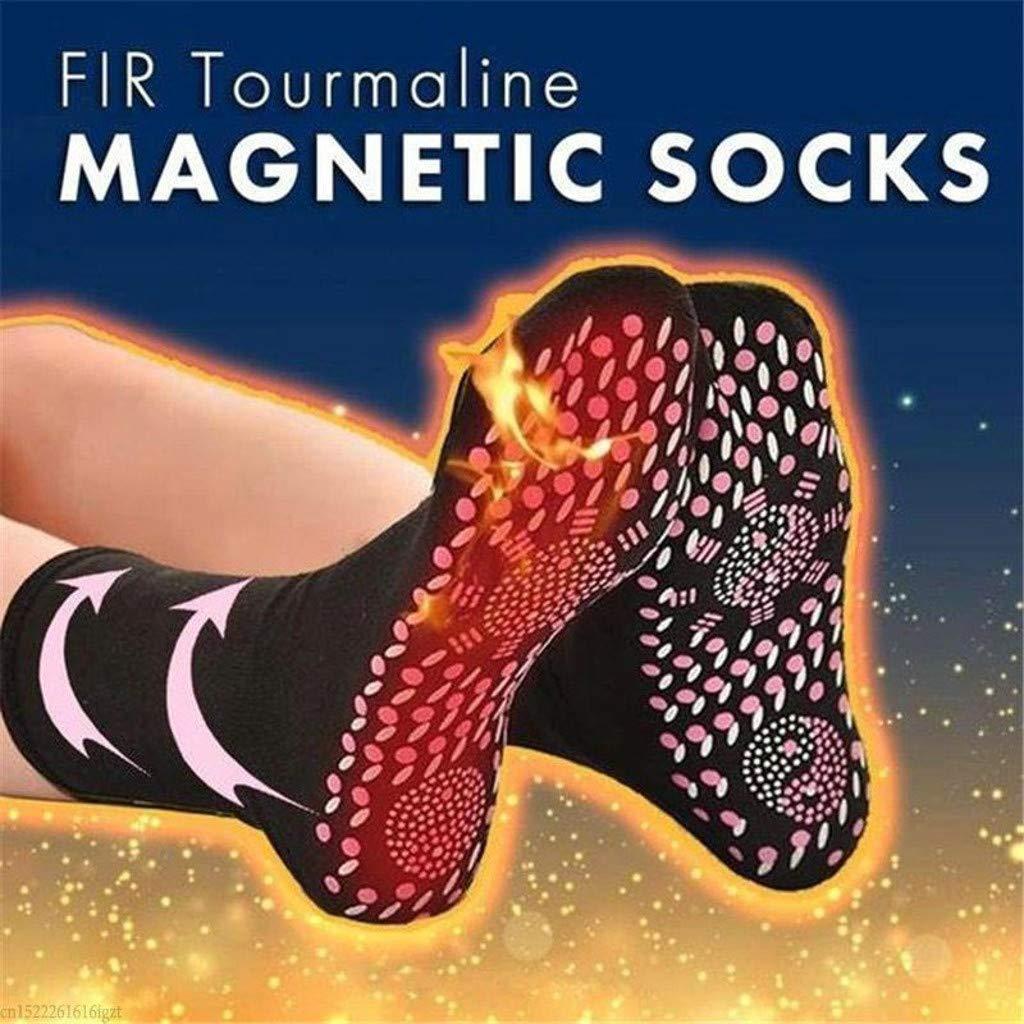 Tuscom Self Heating Socks, Unisex FIR Tourmaline Magnetic Socks Health Care Therapy Magnetic Socks Comfortable Breathable Massage Crew Socks for Hiking, Skiing, Snowboarding (Red)