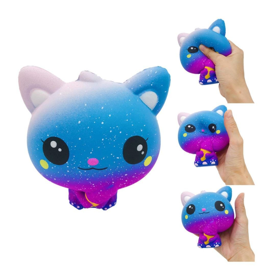 Liping Galaxy Cat Squeeze Toy Slow Rising Cream Scented Stress Reliever Toy (C)