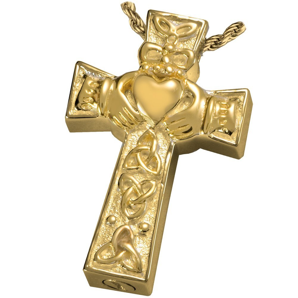 Memorial Gallery MG-3118gp Claddagh Celtic Cross 14K Gold/Sterling Silver Plating Cremation Pet Jewelry by Memorial Gallery
