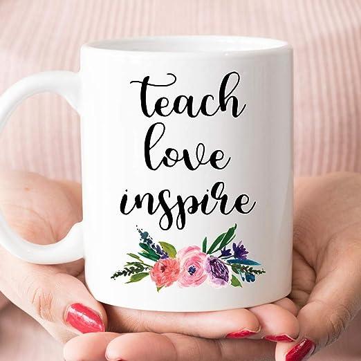 Teach Love Inspire Teacher Coffee Mug Gift For Teacher Teacher Gifts  Mug