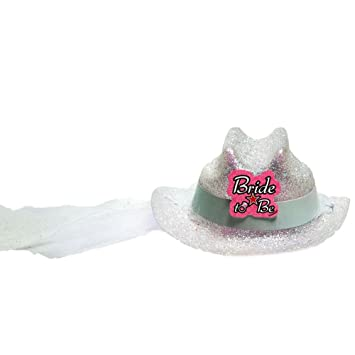 3a24c12fc12 Amazon.com  Mini Bride To Be Cowboy Hat with Veil  Kitchen   Dining