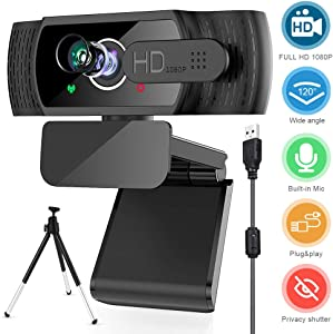 [2020 Upgraded] Electype Webcam with Microphone,1080P HD Webcam with Privacy Screen,Noise Reduction, Laptop Plug and Play USB Cable Webcam for PC Laptop Desktop Video Calling,Conferencing on line