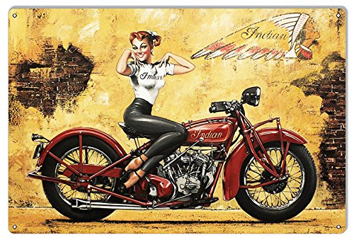 Vintage Motorcycle Signs Indian Motorcycle Pin up Girl 8x12 inch Aluminum Motorcycle Garage Art Metal Sign TINA-R