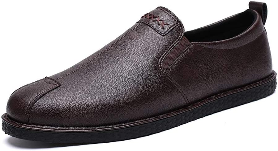 Hunzed Men【Flat Leather Shoes】 Mens Slip On Leather Shoes Fashion Casual Slip-On Driving Dress Loafers Shoes