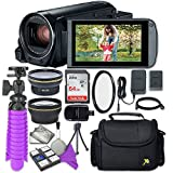 Canon VIXIA HF R82 Camcorder with Sandisk 64 GB SD Memory Card + 2.2x Telephoto Lens + 0.42x Wideangle Lens + Accessory Bundle