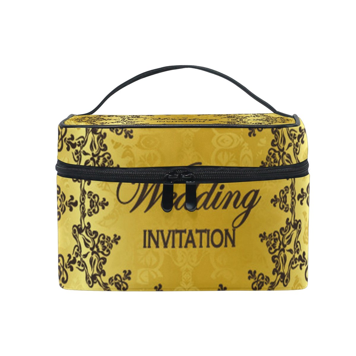 MaMacool Wedding Invitation Print Large Cosmetic Bag Travel Makeup Organizer Case Holder for Women Girls