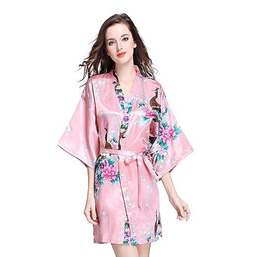 79fb5cbda7 Deksias Women s Kimono Robe Satin Short Printing Peacock Short ...