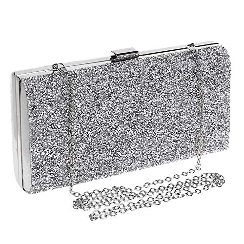Women Party Diamond Clasp Unique Bag Prom Bridal For Silvery Clutch Square Evening 8E4aZ