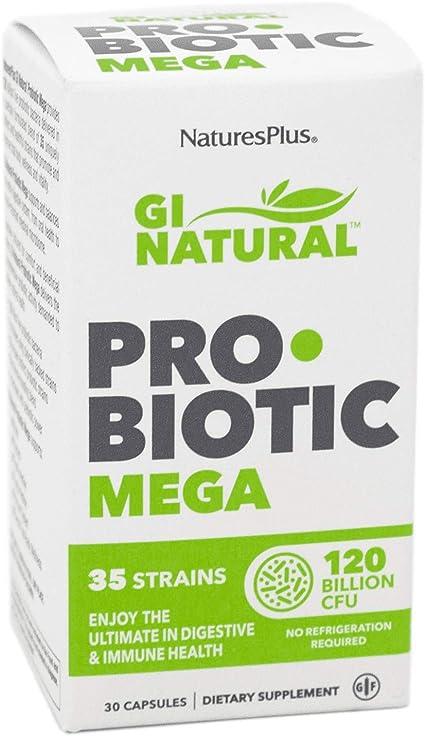 NaturesPlus GI Natural Probiotic Capsules, Mega - 30 Capsules - 35 Live Probiotic Strains & Prebiotics - Supports Stomach, Small Intestine, Large Intestine & Immune System - Gluten-Free - 30 Servings