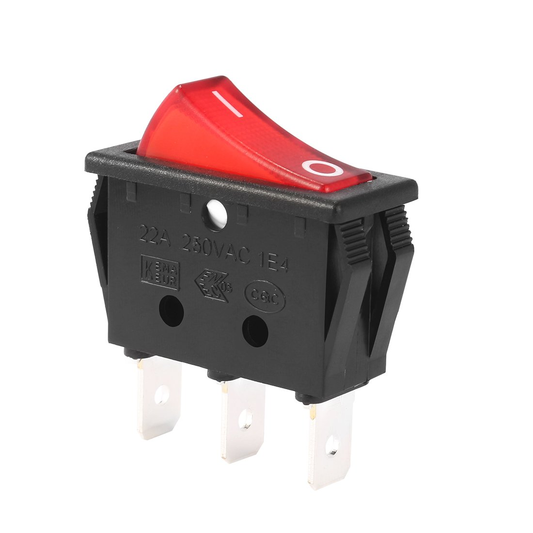 uxcell SPST 3Pin 2 Position On Off Switch Red Light Boat Rocker Switches AC 10A//125V 6A//250V
