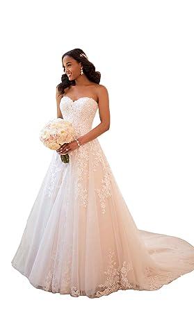 c21c55d33e4b Women's Sweetheart Beaded Lace A Line Princess Wedding Dresses Chapel Train  Bridal Gown Ivory US2