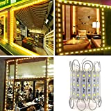 LED Storefront Lights,10ft 20 Pieces Waterproof Decorative Light for Letter Sign Advertising Signs LED Light module,LED Module Store Front Window Sign Strip Light (Warm White)