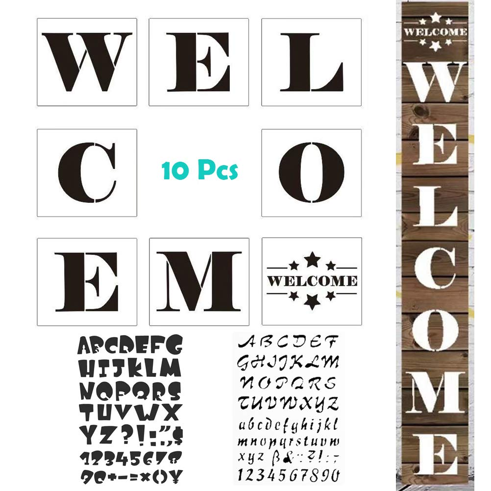 MX-Amigo 10PCS/Set:Large Letters Painting Decorating Hotel Welcome Sign Stencils – Set of 8 Individual Stencils for Making A DIY Welcome Sign 2019+2 PCS Letter and Number Stencils Alphabet Stencil