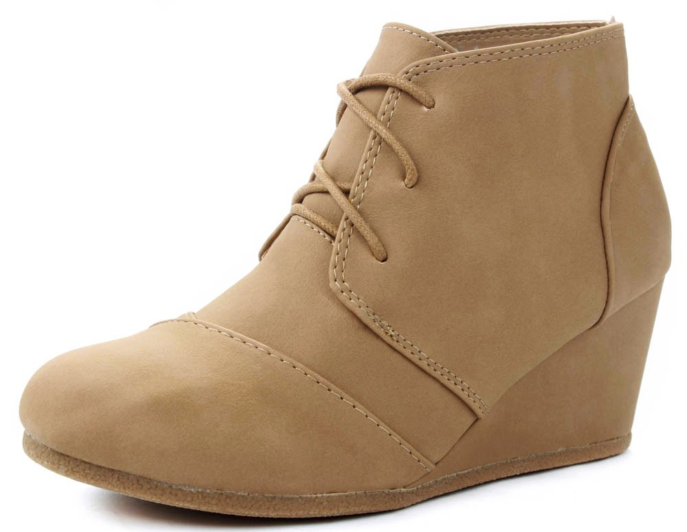 JJF Shoes Aloe Tan Lace-up Faux Nubuck High Top Wedge Ankle Sneaker Bootie-8.5 by JJF Shoes (Image #2)