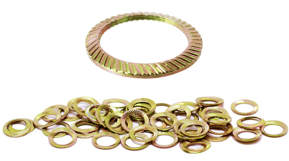 Schnorr (50pcs) M6 Yellow Zinc Plated Brand Ribbed Safety Spring Lock Washer Metric, BelMetric WSH6YLW by Schnorr (Image #1)