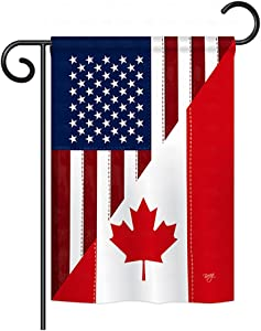 """Breeze Decor G158190 US Canada Friendship Flags of the World US Friendship Impressions Decorative Vertical Garden Flag 13"""" x 18.5"""" Printed In USA Multi-Color"""