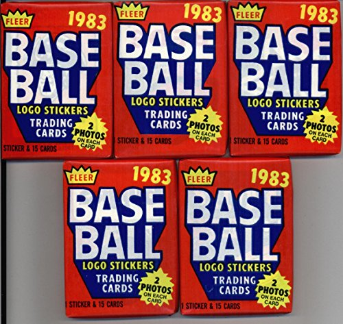 5 Unopened Packs of 1983 Fleer Baseball Cards (15 cards/pack) - Possible Rookies Of Tony Gwynn, Wade Boggs, Ryne Sandberg Rookies and (Ryne Sandberg Card)