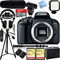 Canon EOS Rebel T7i Digital SLR Camera (Body) w/ Tascam DSLR Audio Recorder and Shotgun Microphone + 128GB & 64GB Pro Video Bundle