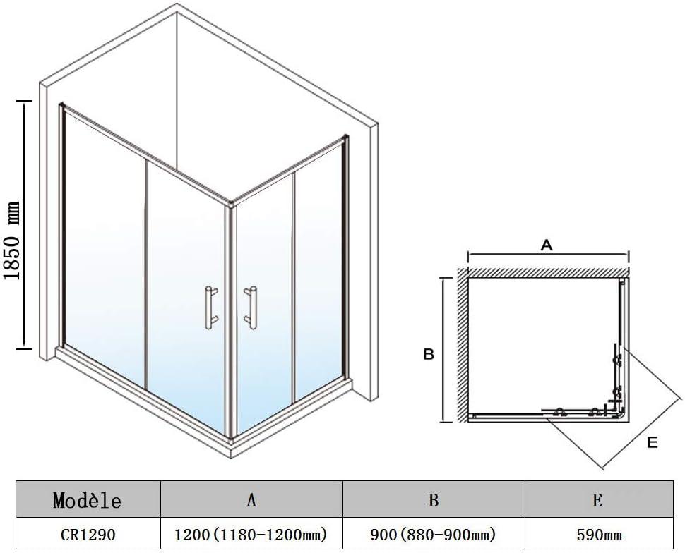 SIRHONA Cabine de douche entr/ée dangle de douche coulissante 80x80x185cm cabine douche /à double porte coulissante 6 mm verre cabine douche