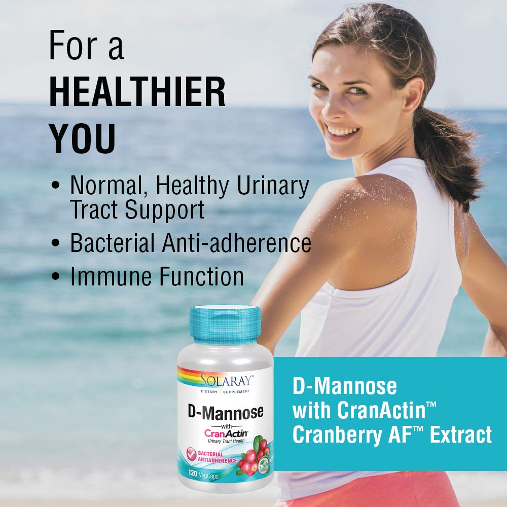 Solaray® D-Mannose with CranActin Cranberry Extract 1000mg | for Normal, Healthy Urinary Tract Support | with Vitamin C | Non-GMO & Vegan | 120 Count | 2 pk by Solaray (Image #3)
