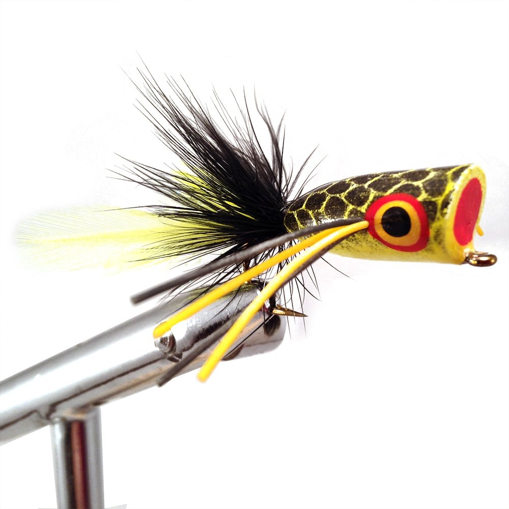 Wild Water Chartreuse and Black Bass Popper, Size 2, Qty. 4, by Pultz Poppers