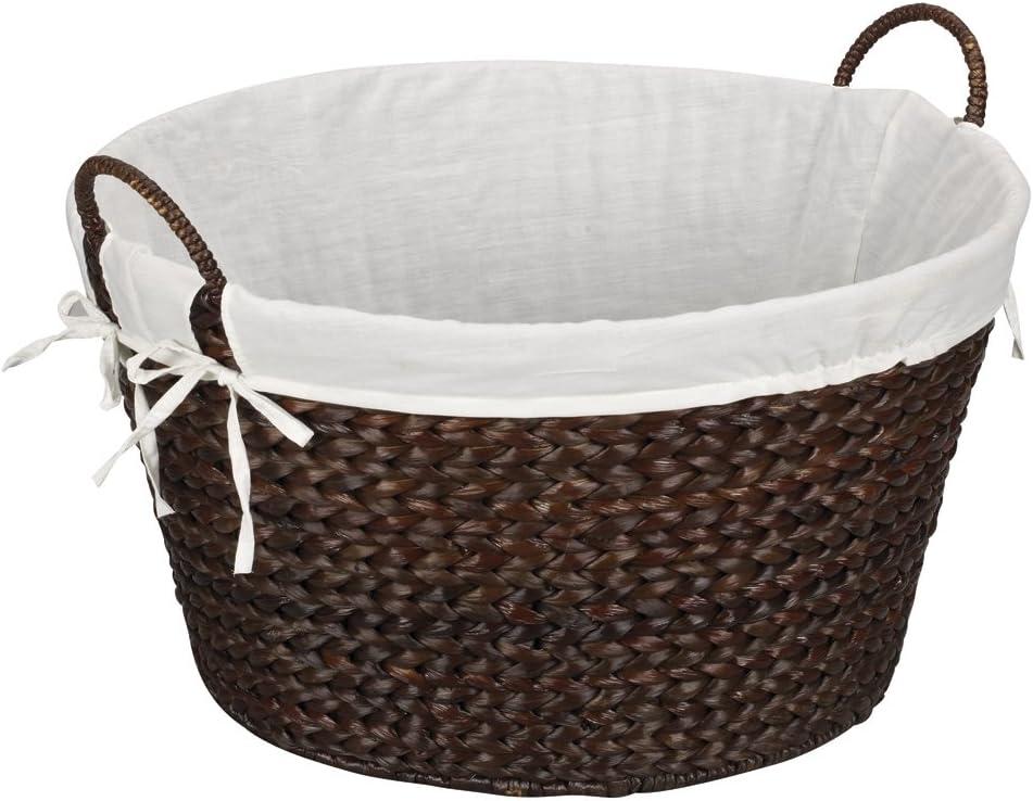 Household Essentials ML-6667B Round Wicker Laundry Basket Hamper with Liner, Dark Brown Stained