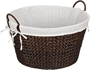 Household Essentials ML-6667B Round Wicker Laundry Basket Hamper with Liner, Dark Brown Stained