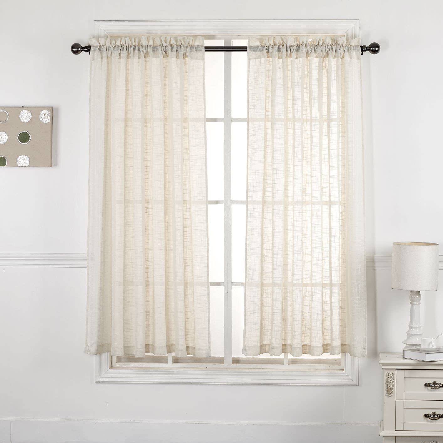 Home Decoration Linen Look Sheer Curtains - Rod Pocket Translucent Privacy Curtains Drapes Panels for Bedroom / Nursery / Kids Room (Beige, 52