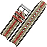 MSTRE NL02 Unisex Nylon Leather Watch Band Suitable For Burberry Watches 22mm
