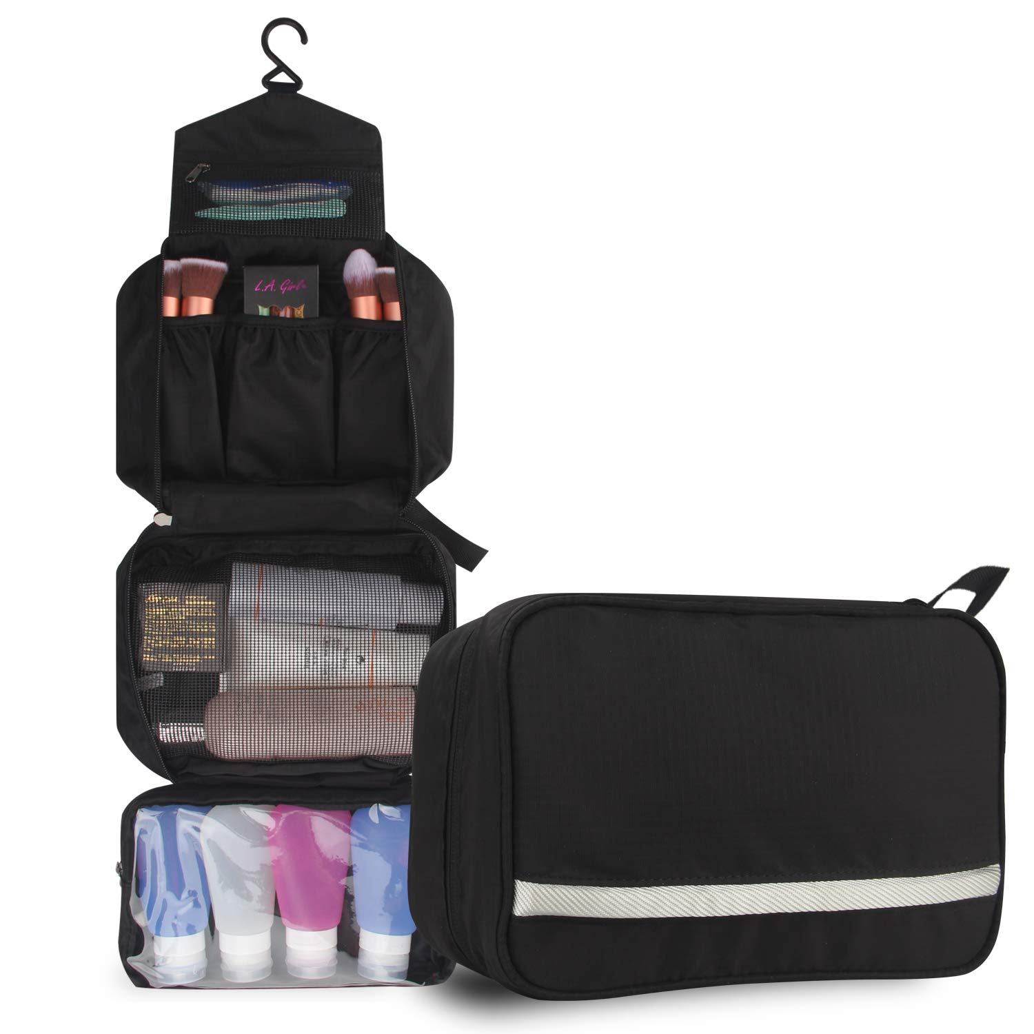 Relavel Cosmetic Pouch Toiletry Bags Travel Business Handbag Waterproof Compact Hanging Personal Care Hygiene Purse (Black)