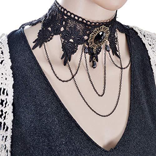 Black Lace Necklace Collar Choker Velvet Victorian Vintage Gothic Chain Pendant Necklace Jewelry Crafting Key Chain Bracelet Pendants Accessories Best| Item - 3