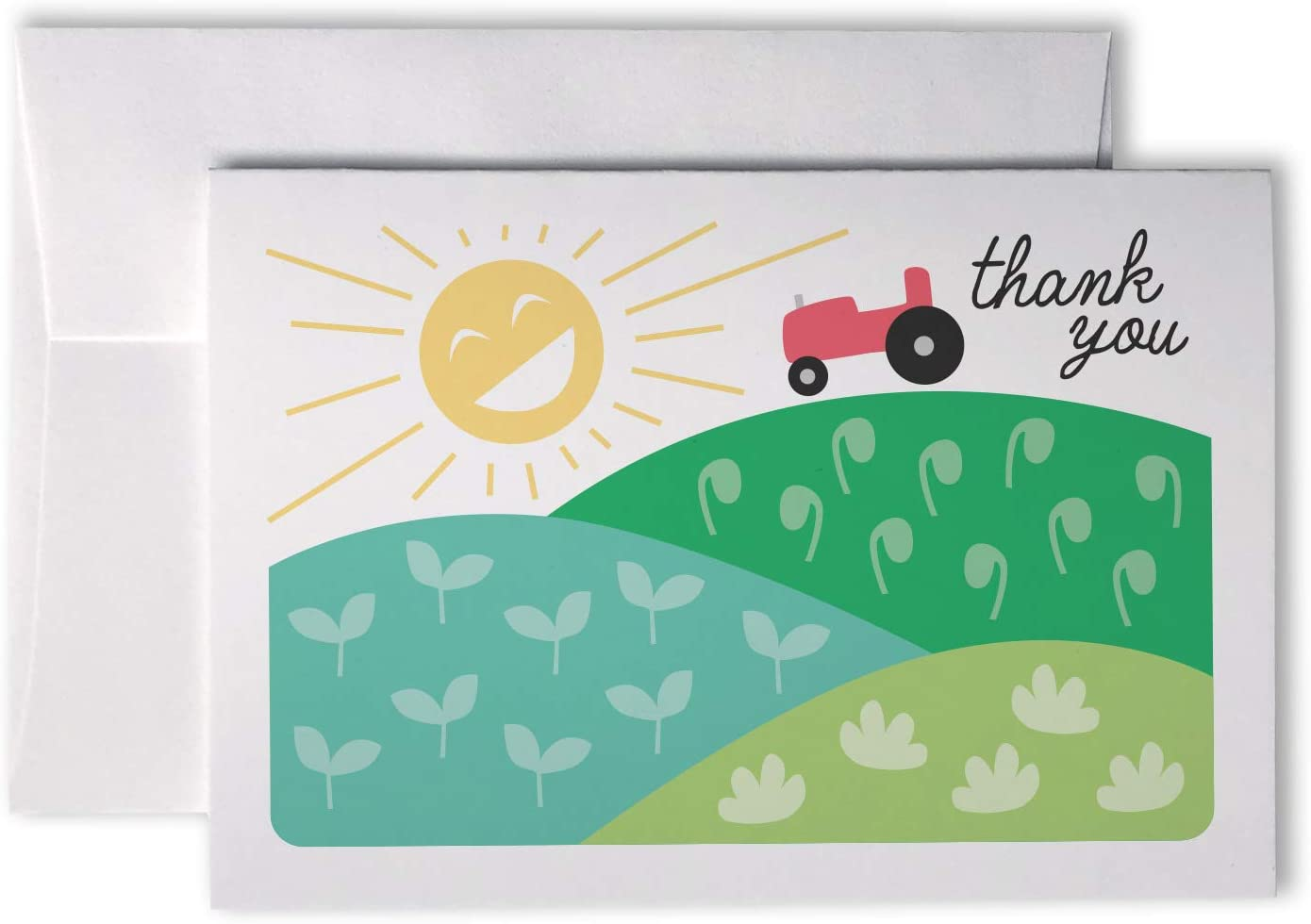 Down on The Farm Thank You Cards - 24 Cards with Envelopes