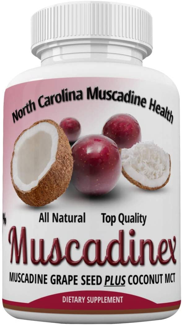 Cardio Immune Health - Muscadinex NRG. 350mg Muscadine Grapeseed with ECGC Plus 250mg Coconut Extract. America's Strongest Grape. 60x 600 mg Veggie Caps.