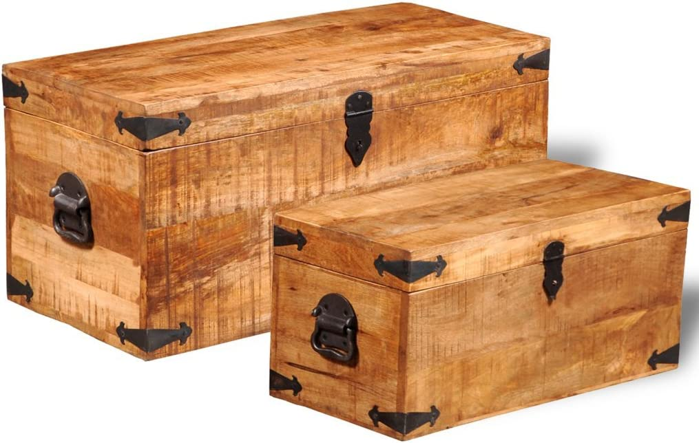 Festnight Set of 2 Mango Wood Storage Chest Box Wooden Trunk Case Cabinet Container with Handles for Bedroom Closet Home Organizer Collection