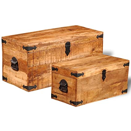 Festnight Set Of 2 Mango Wood Storage Chest Box Wooden Trunk Case Cabinet  Container With Handles