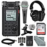 Tascam DR-100mkIII Linear PCM Recorder and Deluxe Bundle with Microphone+ Clip Clamp+Headphones+ Cable+ 32GB+ Fibertique Cloth+More