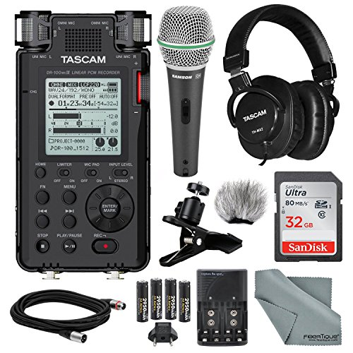 Tascam DR-100mkIII Linear PCM Recorder and Deluxe Bundle with Microphone+ Clip Clamp+Headphones+ Cable+ 32GB+ Fibertique Cloth+More by Photo Savings