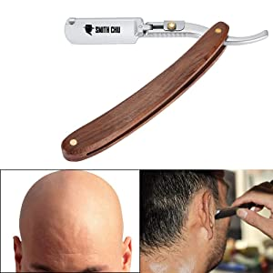 SMITH CHU Professional and Classic Men's Shaving Straight Razor 100% Carbon Steel Cutthroat Blade Natural Wood Splicing Handle,Leather Strop- Perfect for Your Shaving Set