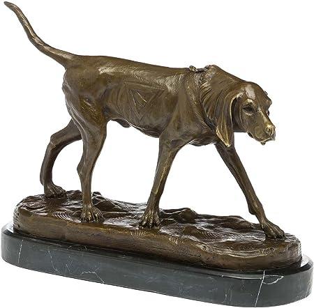 style antique bronze Statuette de chasseur avec chien