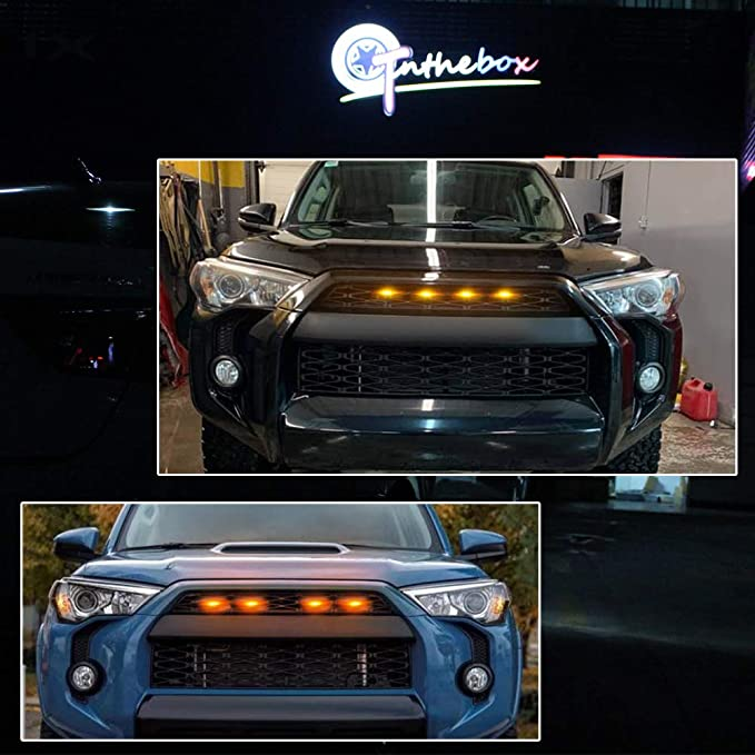 4-Pack D-Lumina Grille LED Amber Lights Fits For Toyota 4Runner TRD Pro 2014 2015 2016 2017 2018 2019, Including SR5 Off-Road Limited TRO Pro With Fuse Adapter and The Wiring Harness