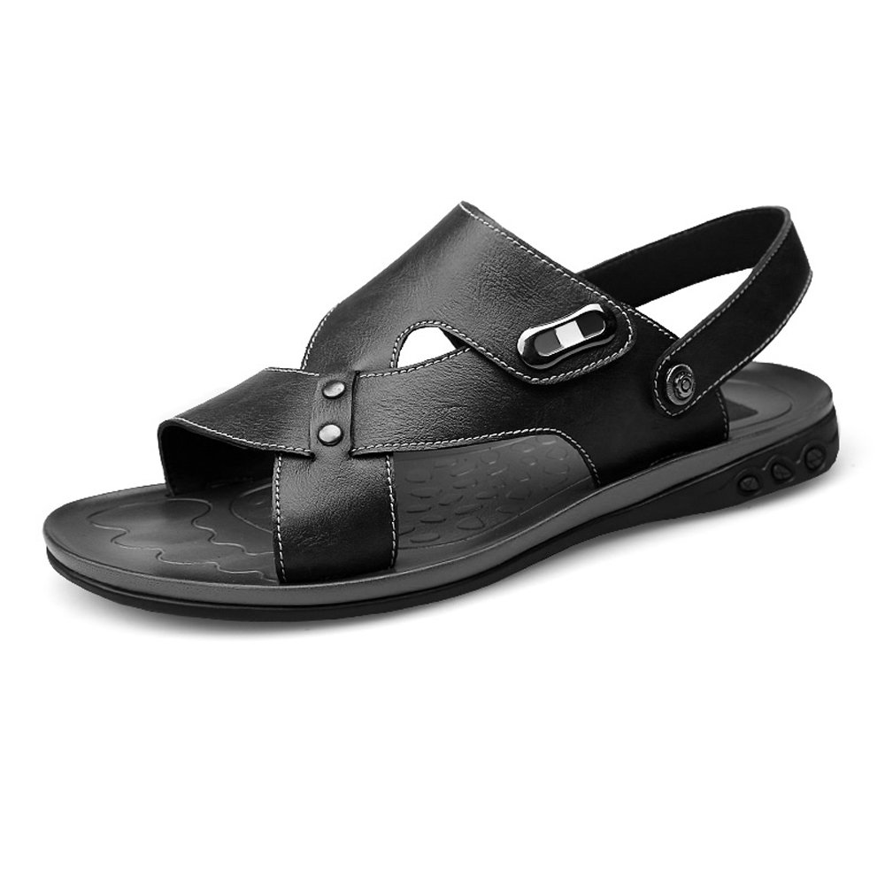 Zapatillas de Playa de Cuero de Vaca Genuino de los Hombres Zapatillas de Deporte Sandalias Antideslizantes Ajustables sin Respaldo,para los Hombres 37 EU|Black