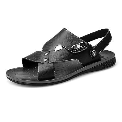 Herren Echtes Leder Strand Hausschuhe Herren Casual Sandalen Rutschfeste Sohle Schuhe,für Männer (Color : Black, Size : 37 EU)