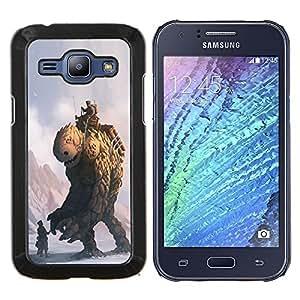 Caucho caso de Shell duro de la cubierta de accesorios de protección BY RAYDREAMMM - Samsung Galaxy J1 J100 - Monster Piedra