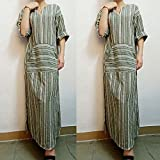 Overmal Womens Fashion Striped Long Sleeve Kaftan Long Dress