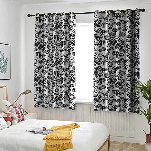 Beihai1Sun Coffee Doorway Curtain Distressed Black Java Plant Seeds Scattered on White Cup of Fresh Joe Espresso Room Darkening, Noise Reducing W 63