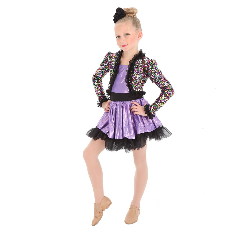 Alexandra Collection Girls Sequin Dance Costume Performance Dress with Skirted Leotard Black Y10 by Alexandra Collection