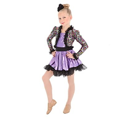 Alexandra Collection Girls Sequin Dance Costume Performance Dress With  Skirted Leotard Black Y4