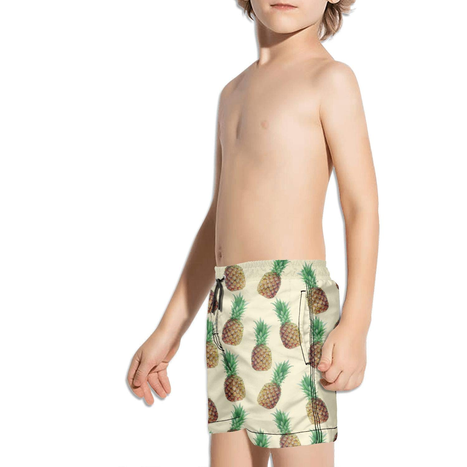 DSDRFE2DEW Swimming Trunks Happy Pink and Green Pineapple Face Fully Lined Shorts for boyswith Drawstring