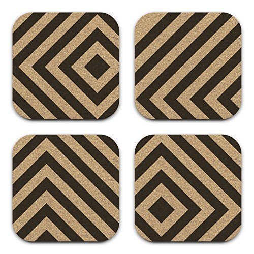 Cheap  Mod Abstract Box Chevron Cork Coaster Gift Set Of 4 Office Decor